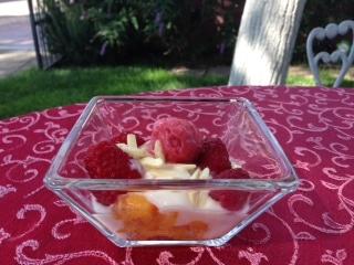 peach melba fruit cup