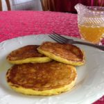 sweet potato pancakes with orange syrup