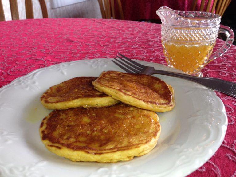 sweet potato pancakes with orange syrup