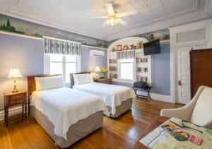 Twin Beds in Christy Room at Bottger Mansion