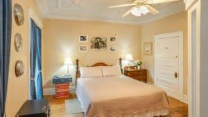 King bed in Route 66 Suite at Bottger Mansion