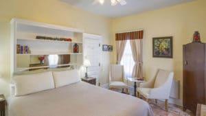 king bed in Hazeldine Room at Bottger Mansion