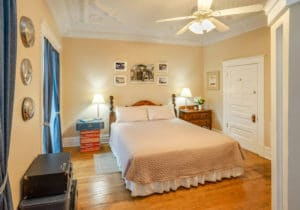 king Bed in Route 66 Room at Bottger Mansion