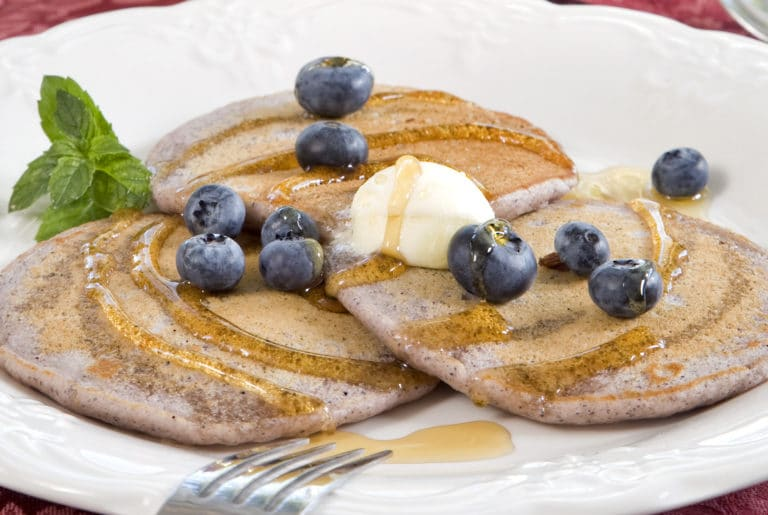 blue cornmeal pancakes